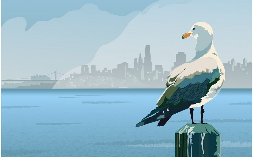 Sunny in Sausalito travel poster