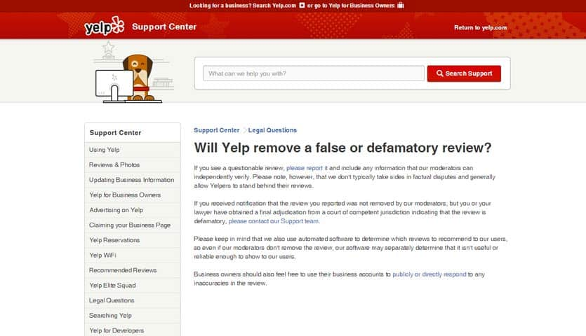 Will Yelp remove a false or defamatory review?