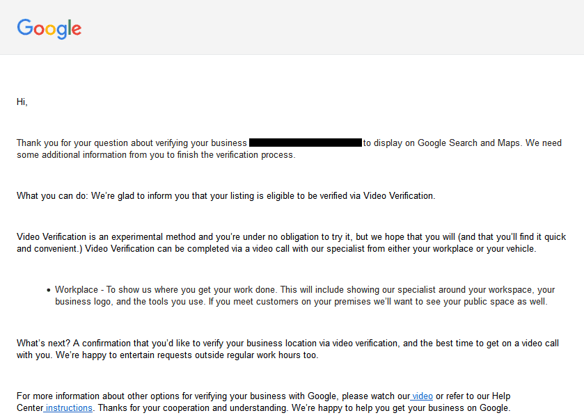 Google Video Verification Email