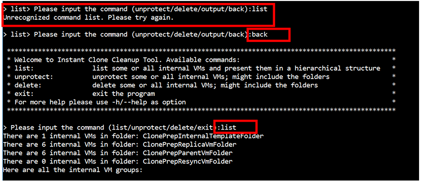 commands to manipulate protected instant clone objects