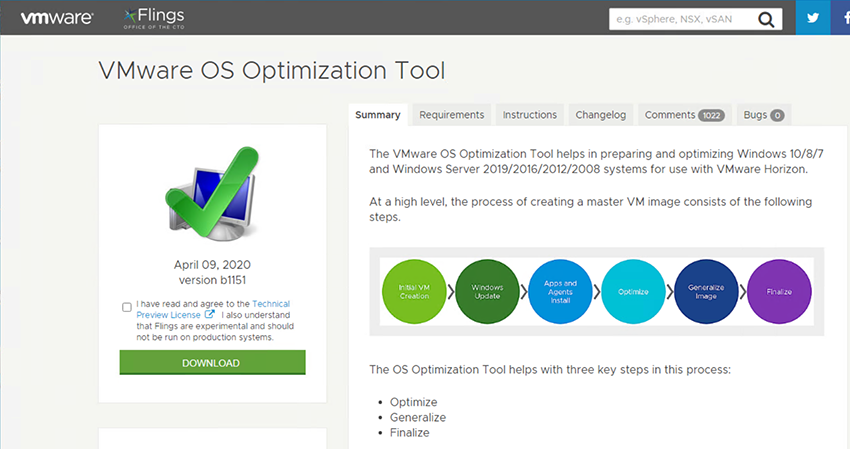 Download VMware OS Optimization Tool from VMware's Fling site