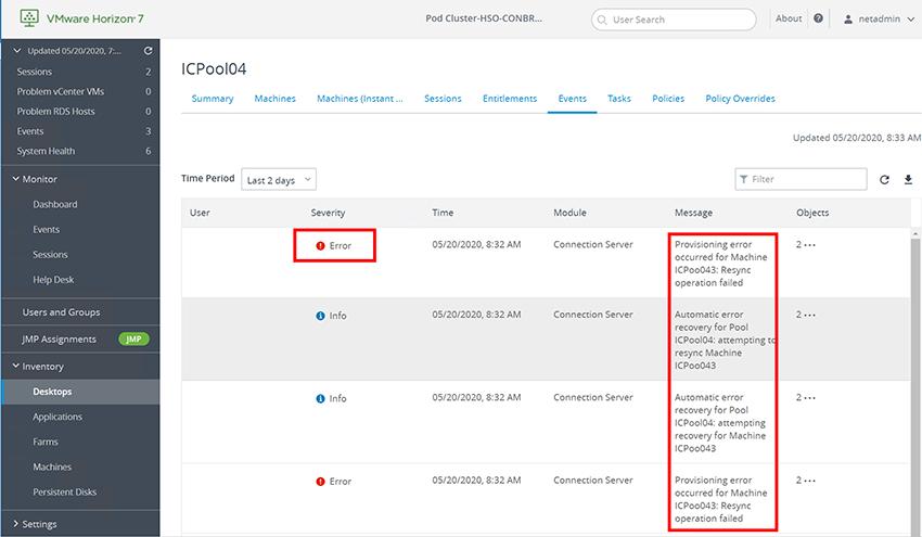 Horizon Administrator showed error messages for many instant clone desktops