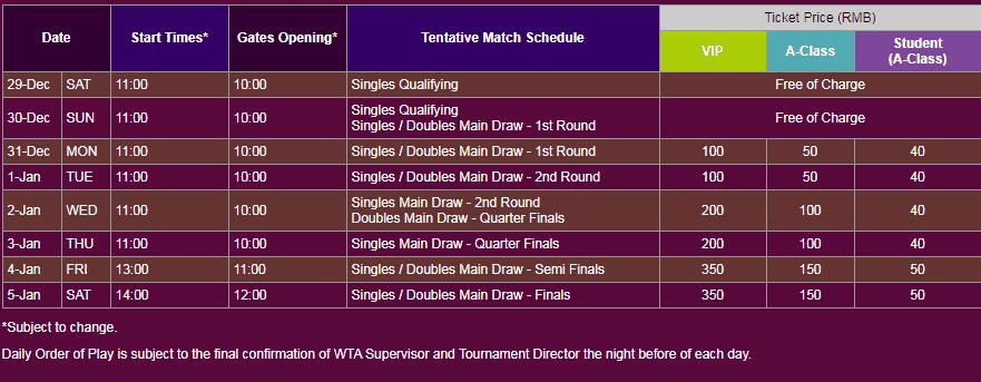 WTA Shenzhen Ticket Prices