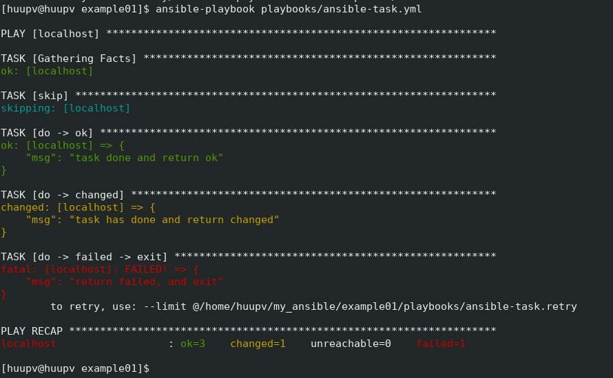 Ansible task type of state