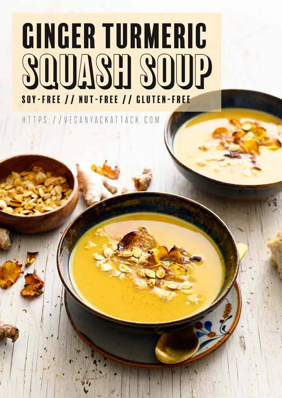 Two bowls of ginger turmeric squash soup on a white background with text
