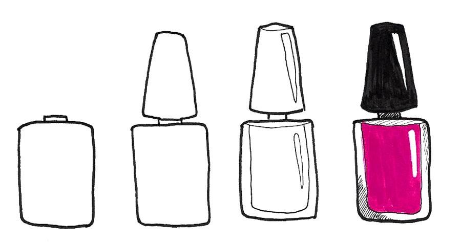 nail polish bottle doodle tutorial