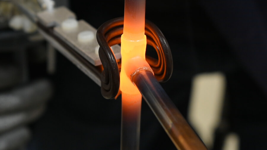 Induction brazing of 3 copper pipes