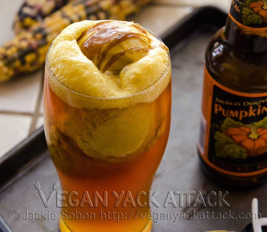 Close up of Double Pumpkin Beer Float in a pint glass