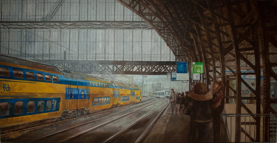 "Central Station Amsterdam. Oil on canvas. 36"" x 18"". Sold"