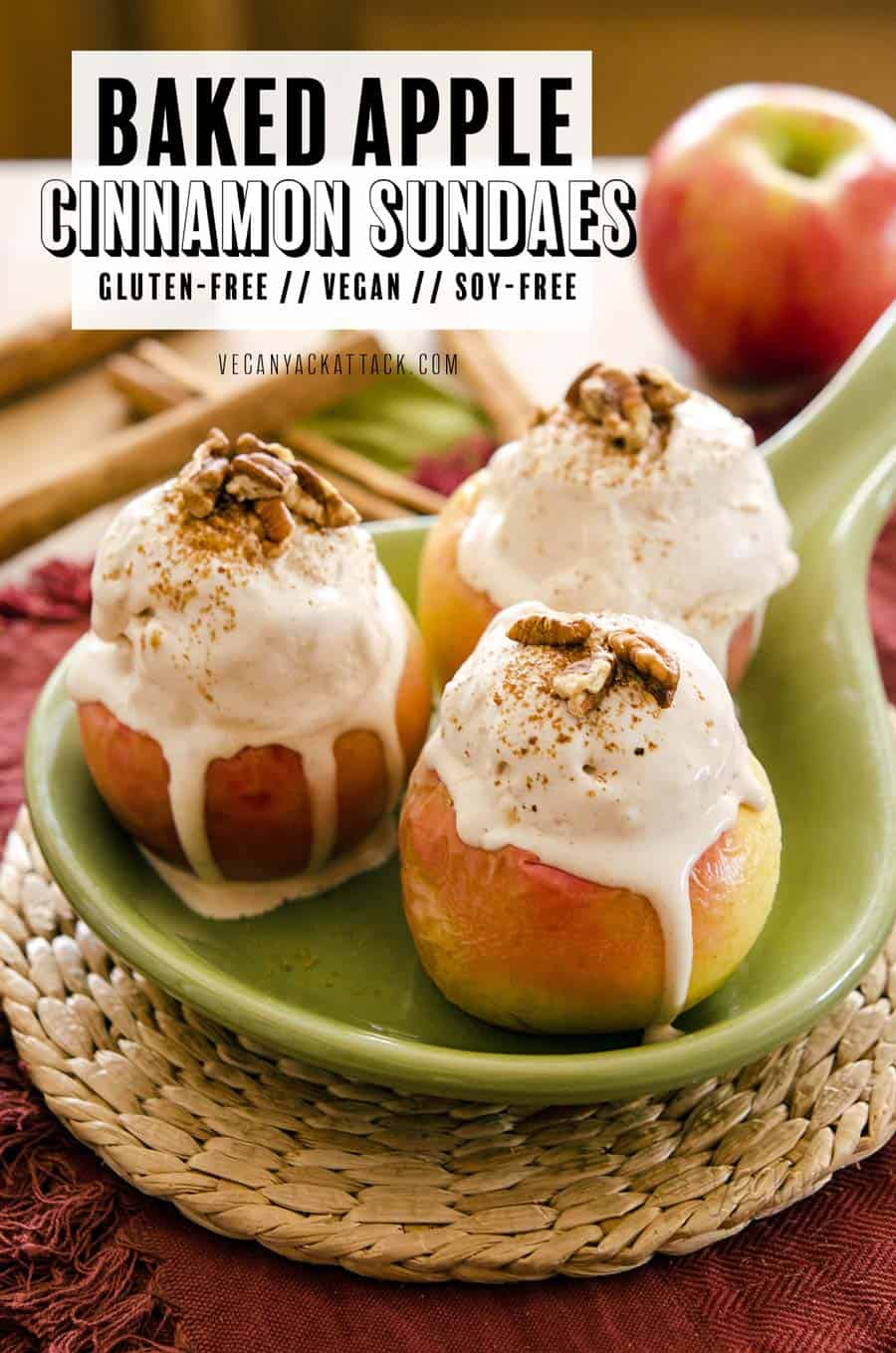 This recipe for Baked Apple Cinnamon Sundaes is downright delicious and full of autumnal flavors. It involves roasted apples (mostly) whole and whipping up homemade vegan ice cream! Plus, there's a no-churn option for those with no ice cream maker. #Vegan #dairyfree #glutenfree #fallrecipes #soyfree