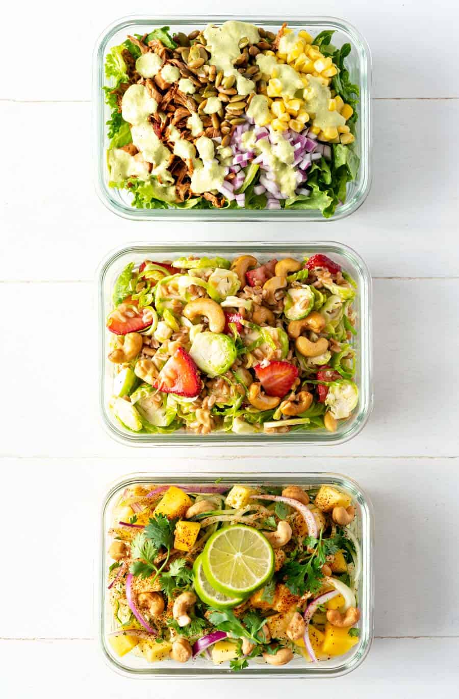 Salad Trio Group Shot from Vegan Yack Attack's Plant-Based Meal Prep by Jackie Sobon