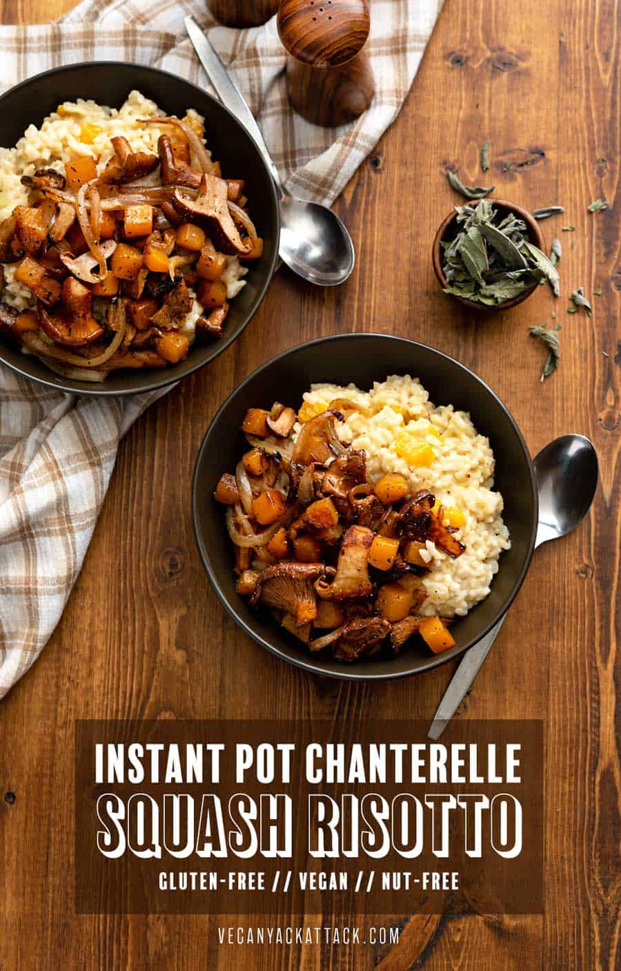 Comforting, satiating, and filled with Fall flavors, this Instant Pot Chanterelle Squash Risotto really hits the spot! With using a multi-cooker for this recipe, you bypass the high-maintenance process of making risotto. #vegan #nutfree #glutenfree #soyfreeoption #veganrecipes