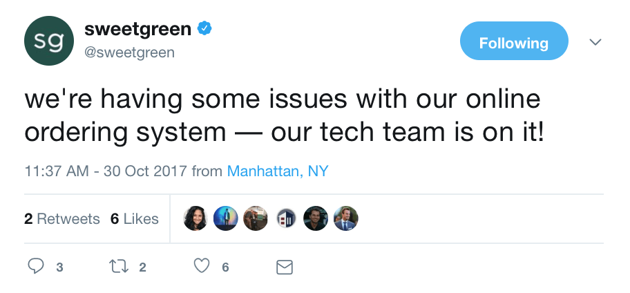 sweetgreen mobile order tech issues