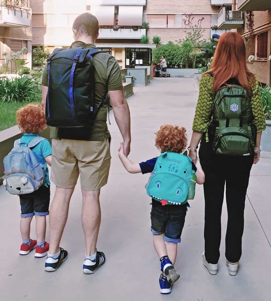 family travelling only with hand luggage