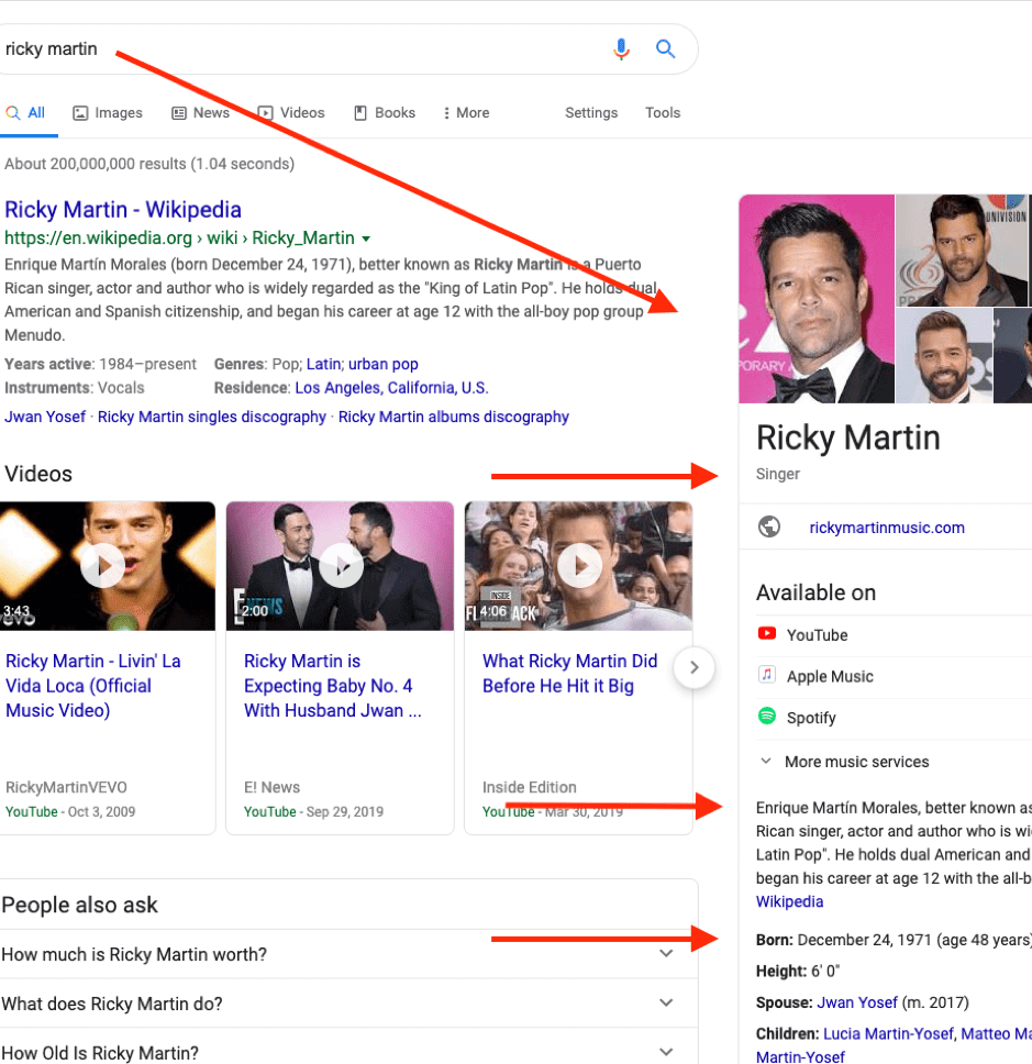 Example Google Knowledge Panel