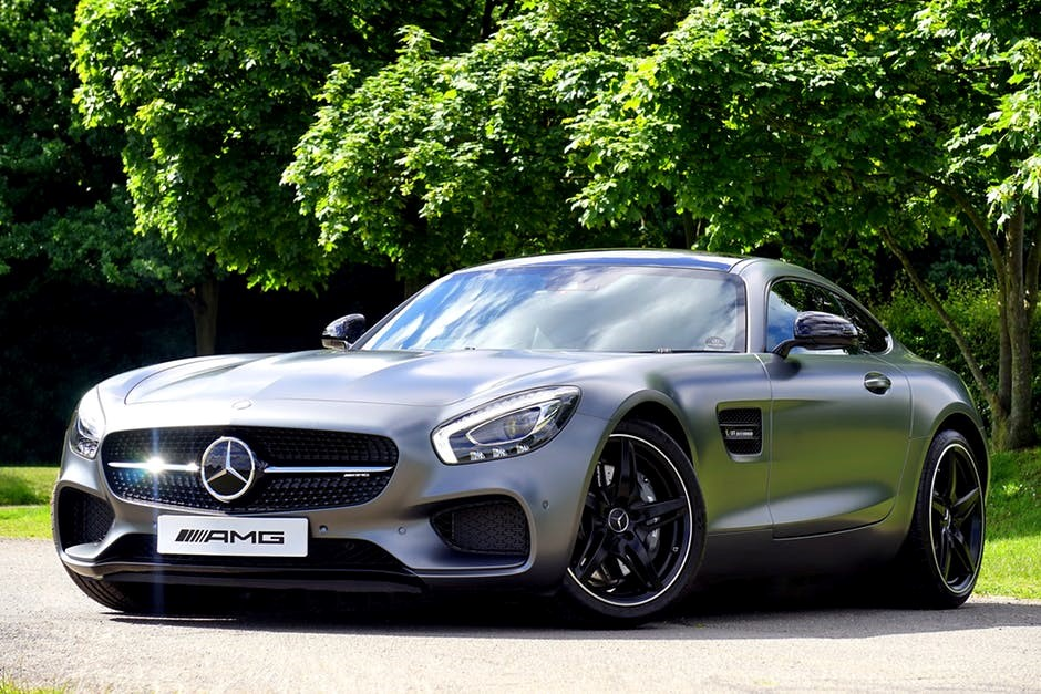 mercedes amg grey sports car