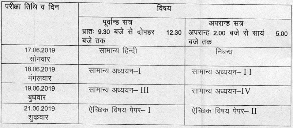 UPPSC PSC Main 2018 Exam Date & Time Table uppsc.up.nic.in Screenshot