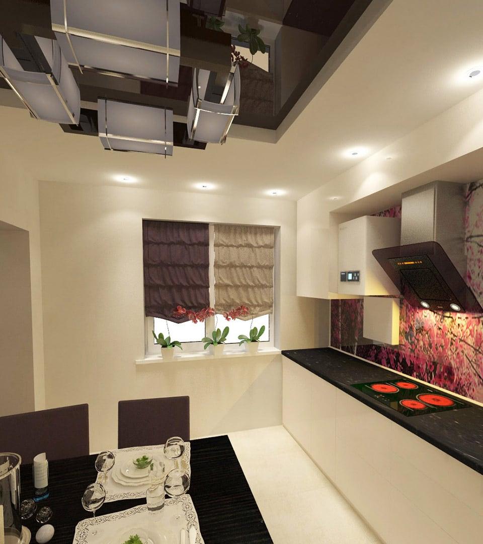 Двухуровневый натяжной потолок на кухне 14 м2 4