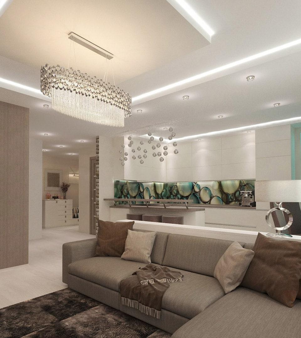 Двухуровневый натяжной потолок с подсветкой 33 м2 5