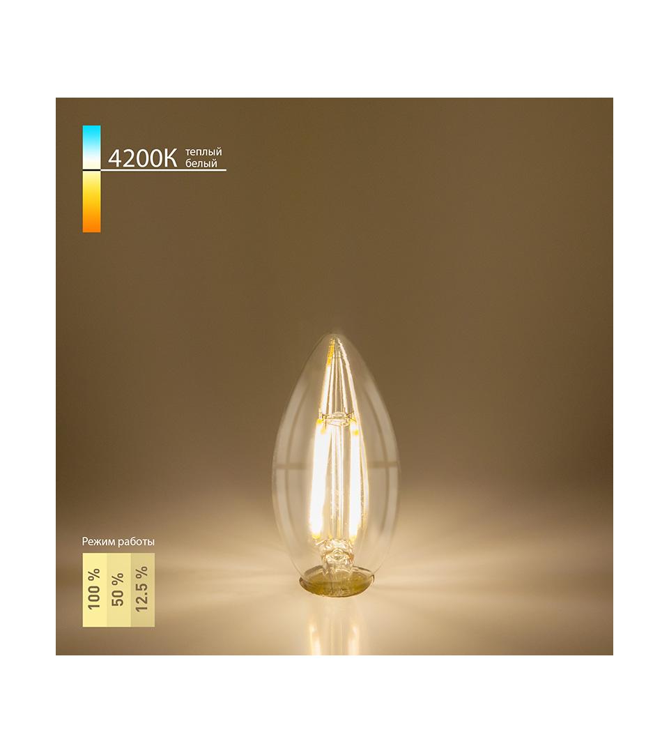 """Филаментная светодиодная лампа """"Свеча"""" C35 5W 4200K E14 3"""