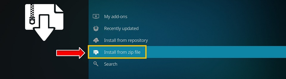 click install from zip file