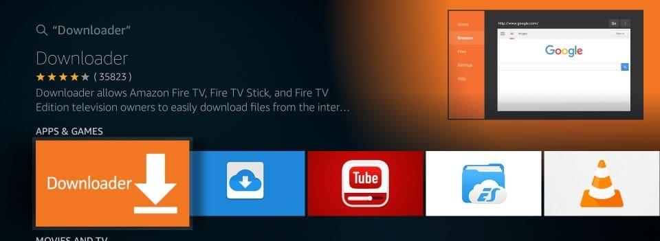 click the downloader app