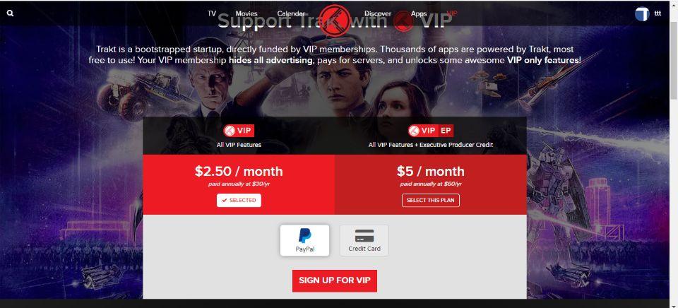 Trakt VIP Pricing