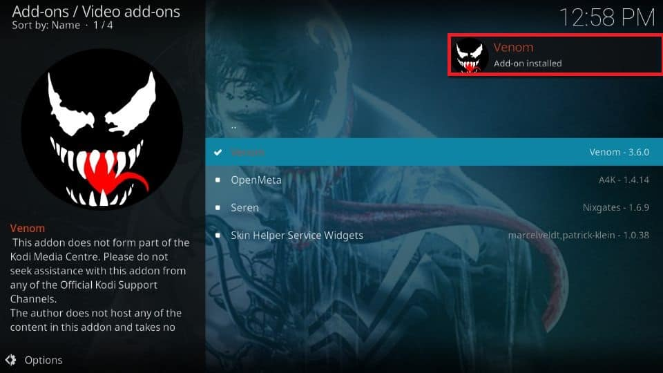 how to install Venom addon on Kodi