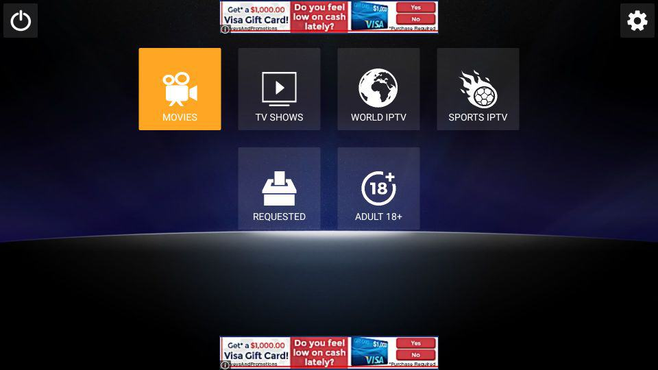 main screen of the Live Lounge APK on FireStick: