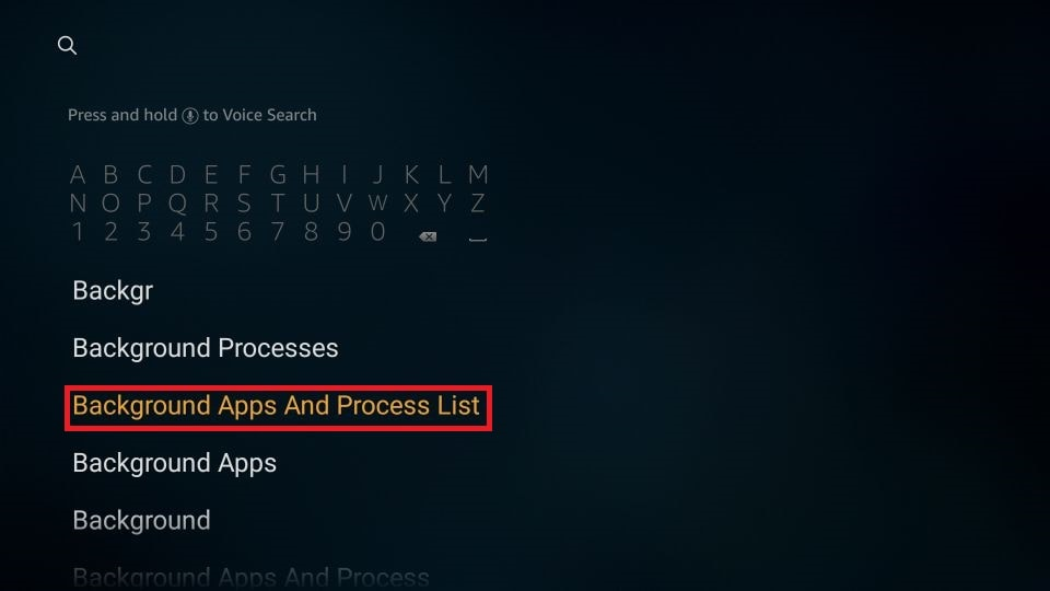 Background Apps and Process List
