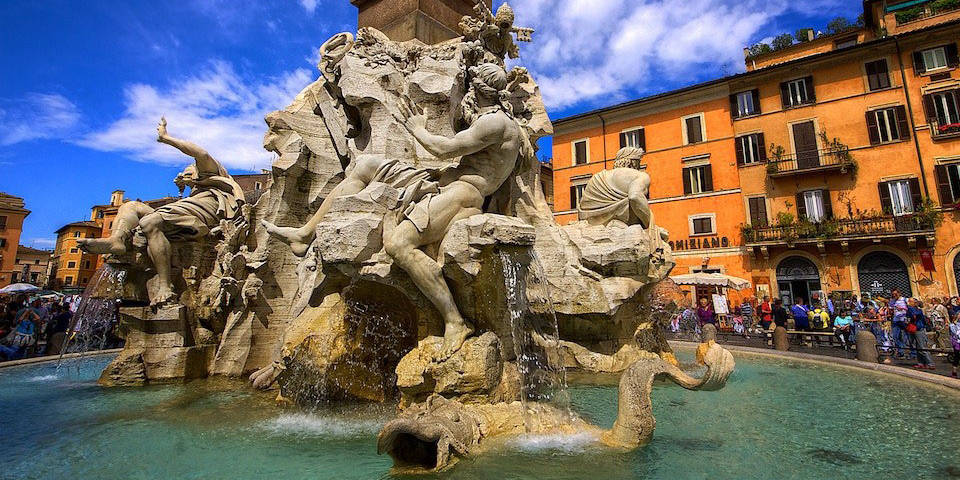 Fountain of the four rivers on Navona Square in Rome
