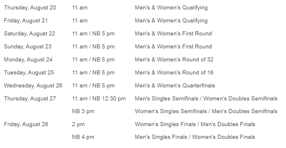 Cincinnati Open Schedule