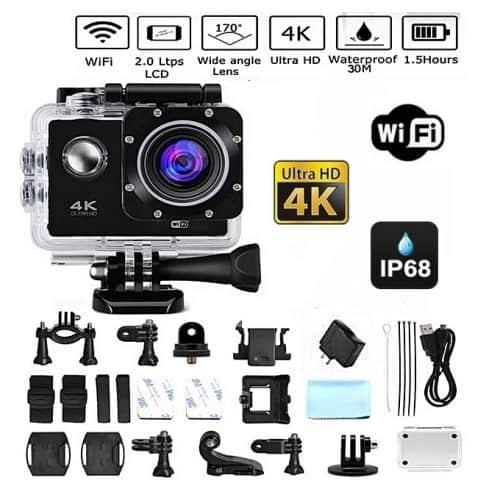 Caméra Action Ultra HD 4K Sports Wifi + Accessoires + Trépied  - NOIR