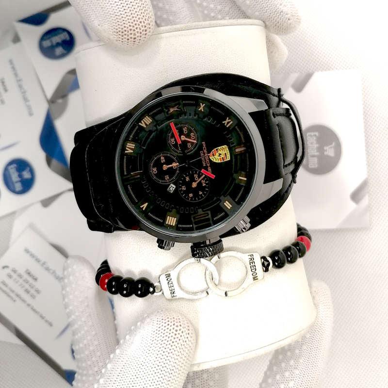 Montre Porsche Cuir Noir haut de gamme + Bracelet