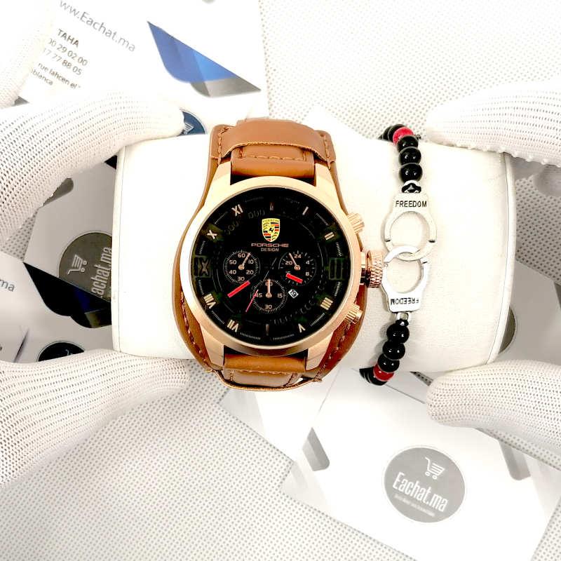 Montre Porsche Cuir Marron Noir haut de gamme + Bracelet