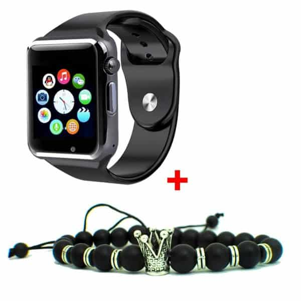 GT GT08 Smart Watch Montre Connectée avec carte sim - argenté + Bracelets Trone Royal