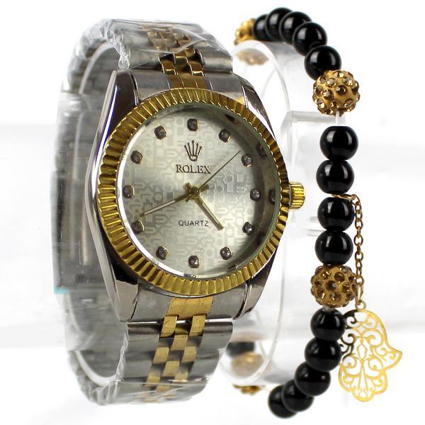 Montre Rolex Doré argenté avec Bracelet Khmissa