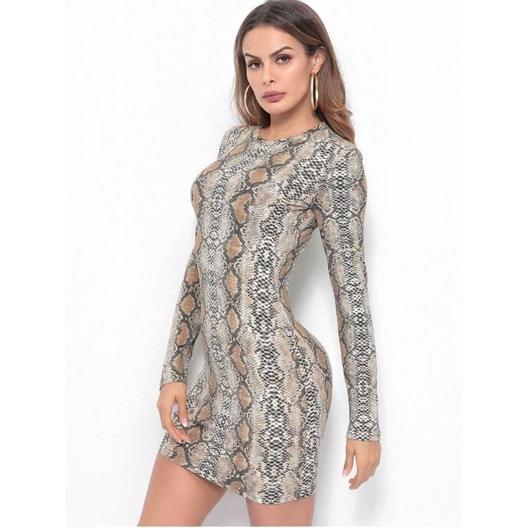 Mini Robe Peau de Serpent Chic Moulante