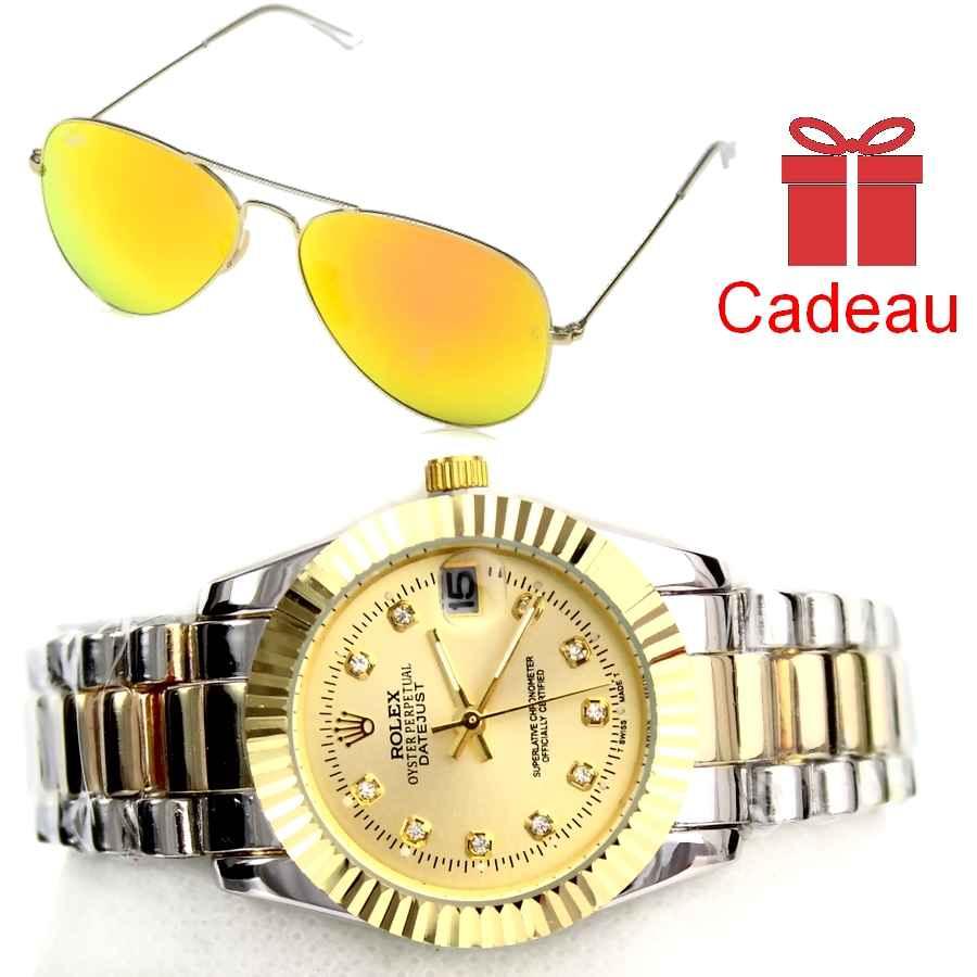 Montre Rolex date juste avec lunette RayBan orange