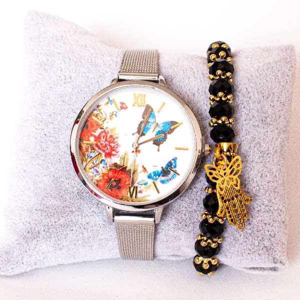 Montre Papillon + Bracelet Khmissa