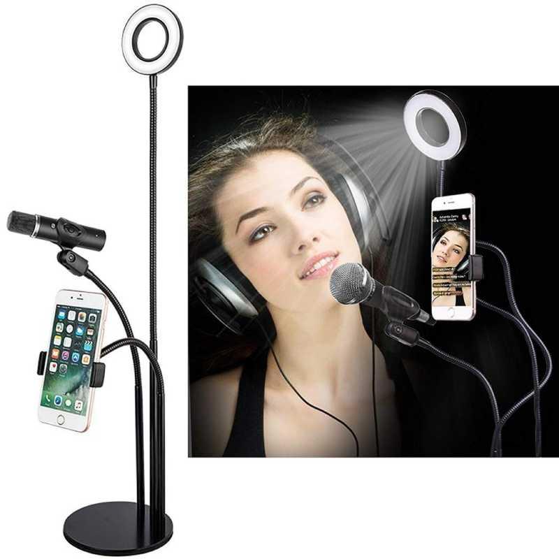Bureau Ring Light Anneau lumineux LED 3 en 1 avec Support de Téléphone + Support de Microphone