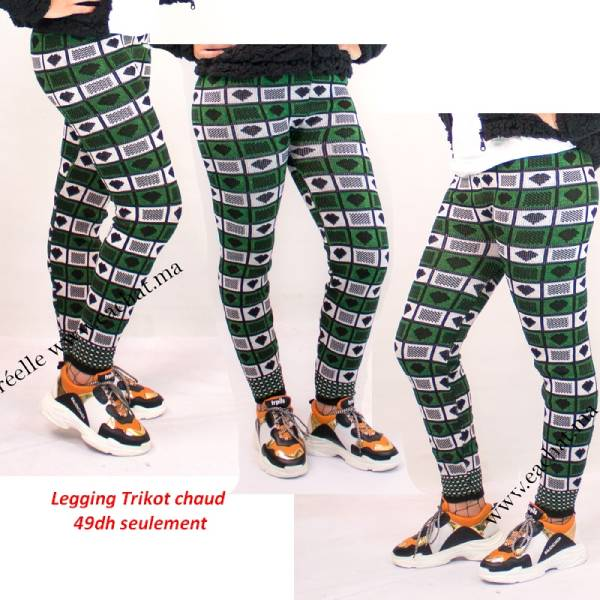 Legging Laine Chaud Nordique Tricoté Coeur- vert حوايج البرد سروال