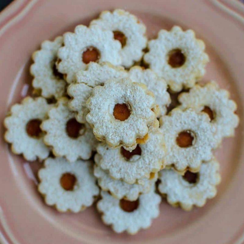 Veganski piškoti, recept za linške oči z marelično marmelado