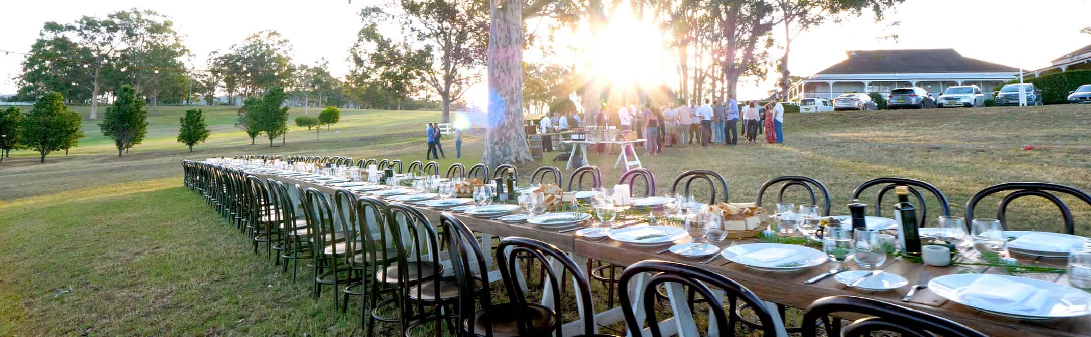 Long wedding lunch table in the field Hunter Valley