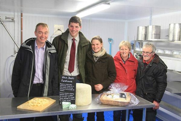 Tim Farron MP with the cheesemakers of Whin Yeats Dairy