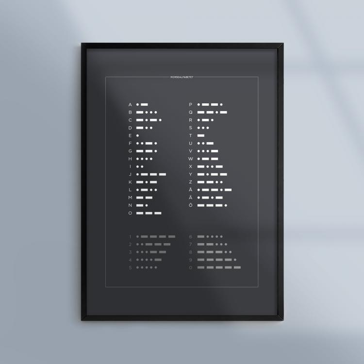Poster-Tavla-Morse-Svart-Ram-Kunskapat
