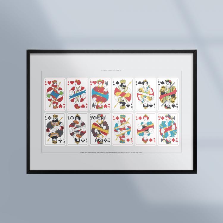 Poster-Tavla-Kortspel-Kladda-Kort-Hovkort-Ram-Kunskapat