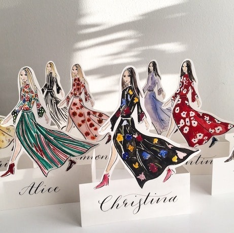 Fashion Illustration Place-cards designed and personalised by London Calligraphy