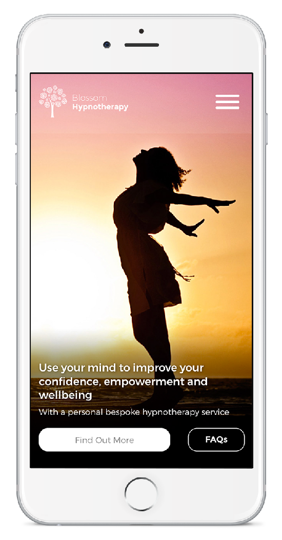 Blossom Hypnotherapy shown on iPhone
