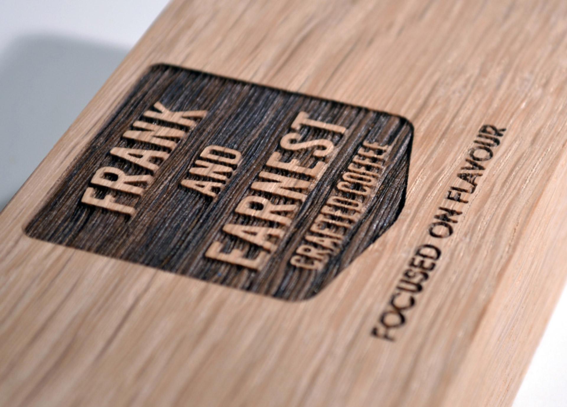 Frank & Earnest brand on wood